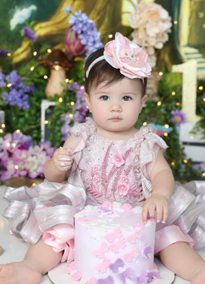 Pink Floral Pearl Satin First Birthday Romper