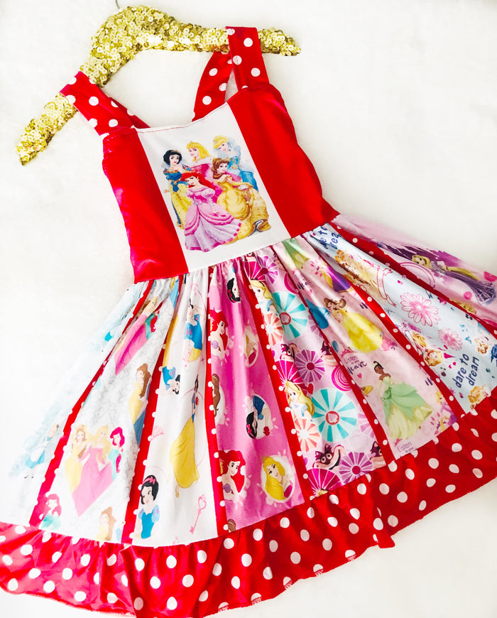 Red Princess Twirl Spin Dress