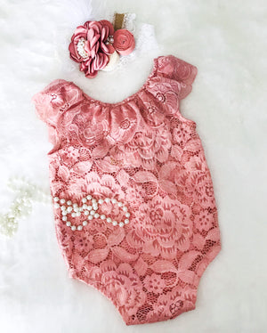 Kryssi Kouture Dusty Rose Lace Scoop Back With Bow Romper Set