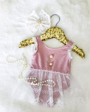 Kryssi Kouture Rose Lace & Pearl Button Romper Set