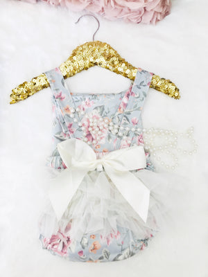 Kryssi Kouture Girls Floral Lace Ruffled Spring Bloom Romper 2 Pc Set