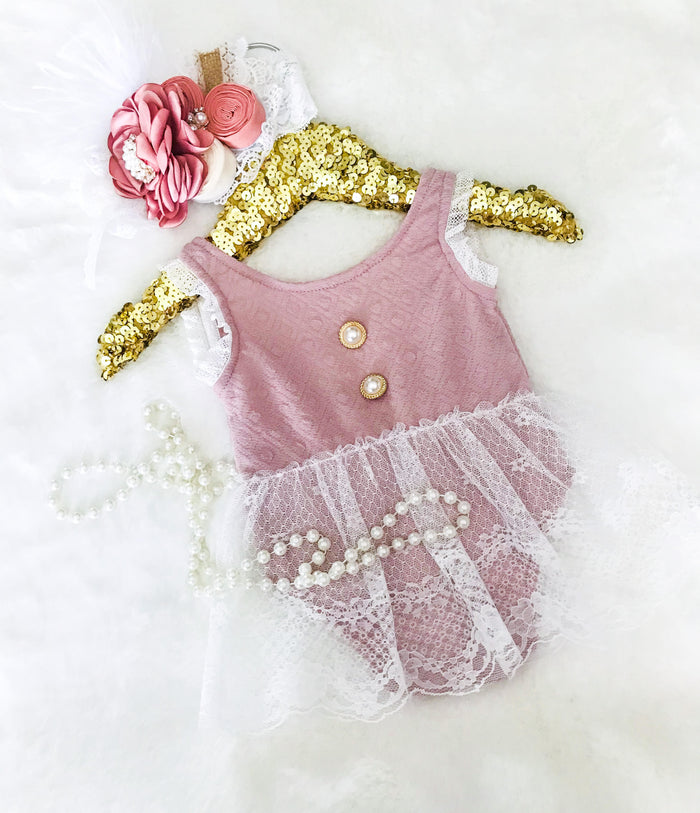 Kryssi Kouture Vintage Rose Lace & Pearl Button Romper Set