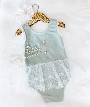Kryssi Kouture Sea Foam Green Lace & Pearl Button Romper Set