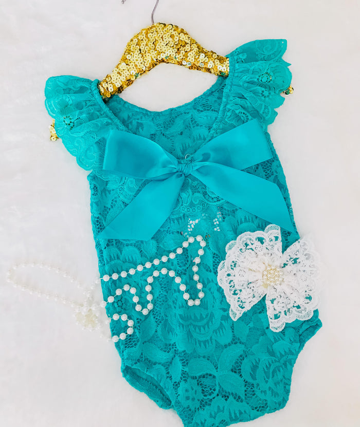 Kryssi Kouture Teal Lace Scoop Back With Bow Romper Set