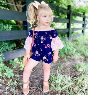 Kryssi Kouture Girls Navy & Dusty Rose Lace Bell Sleeve Romper