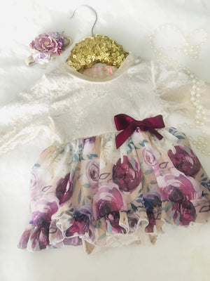 Mustard Bloom Chiffon & Velvet Tutu Dress