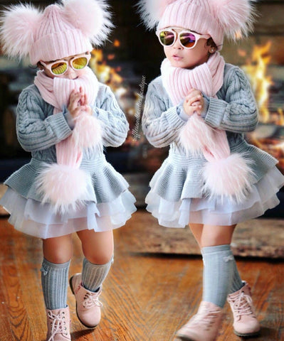 ****CUSTOMER FAVORITE***** PRE ORDER - Pink Double Pom Fur Knitted Beanie Hat - Scarf - Baby Beanie Fur Pom Hat - Fall Hat - Winter Hat - Baby Hat - Real Fur Pom Hat