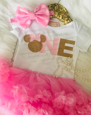 Kryssi Kouture Original and Exclusive Miss Mouse Minnie Pink & Gold Glitter Tutu First Birthday Dress - 2 Pc Set