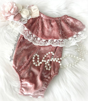 Baby Girls Dusty Rose Velvet and Lace Off the Shoulder Bodysuit Romper