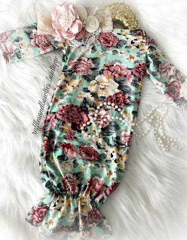 Mabel Rose Floral Long Sleeve Sleep Gown Sack