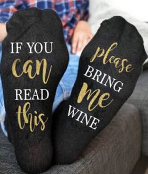 IF YOU CAN READ THIS PLEASE BRING ME WINE Socks - Socks for Mom - Gifts For Mom - Novelty Socks