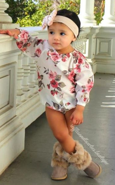 Long Sleeve Off Shoulder Floral Romper