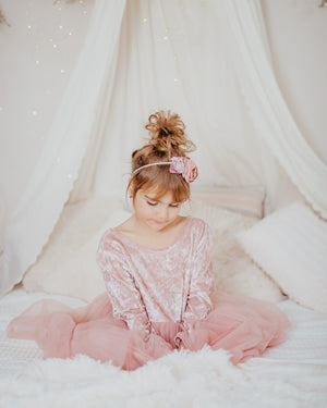 Velvet Big Bow Dusty Blush Holiday Dresses