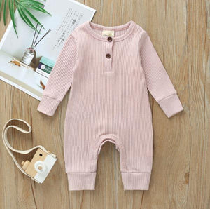 Infant Blush Ribbed Knit Fall Romper