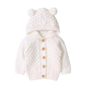 Infant Knitted Bear Cream Pom Sweater
