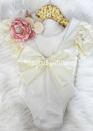 Kryssi Kouture Exclusive Oh That Bow® Lace Flutter Sleeve Oversized Bow Ivory  Bodysuit/Romper