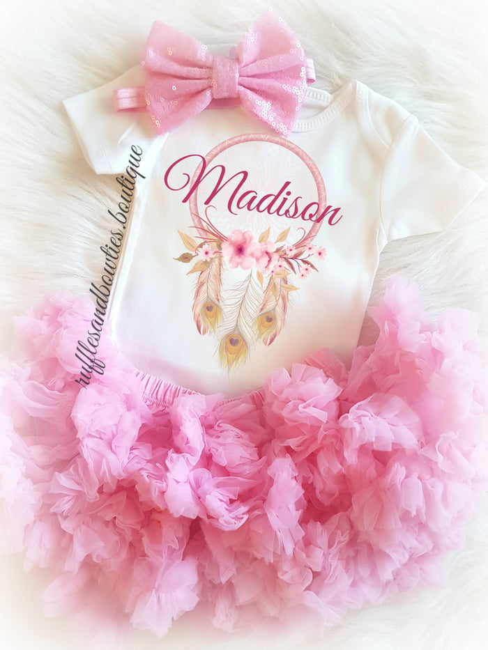 Boho Soft Pink Dream Catcher Customized Onesie
