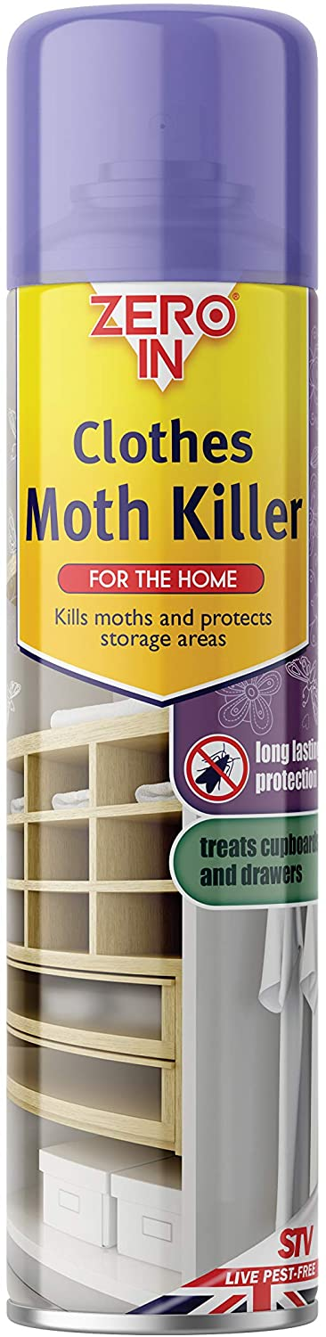 Zero In Clothes Moth Killer (300 ml Aerosol, Transparent, Surface Treatment Spray, Kills Clothing Moths and Larvae in Household Storage Areas, Protects for up to 12 Months)
