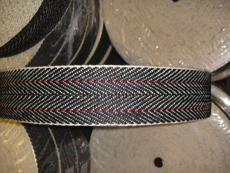Red Stripe Black and White Webbing 51mm Wide