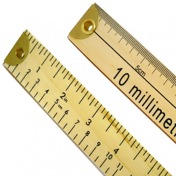 Double Sided Dual Marked Wooden Metre Rule (Brass Ends) R670B