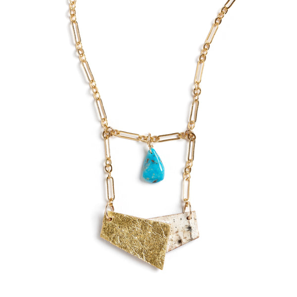 "Tessoro ""Etruscan"" Birch and Turquoise Necklace"