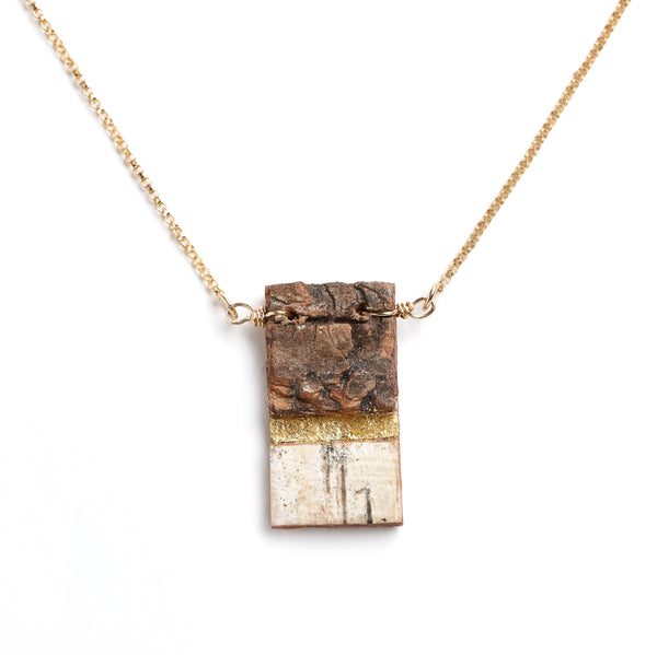 "Tessoro ""Etruscan"" Birch and Gold Leaf Pendant"
