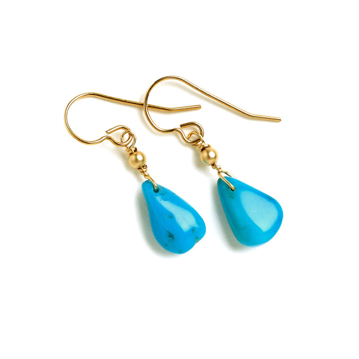"Tessoro ""Etruscan"" Turquoise and Gold Earrings"