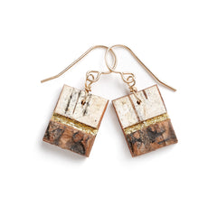 "Tessoro ""Etruscan"" Birch and Gold Leaf Earrings"