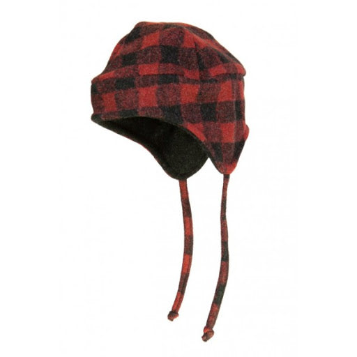 Buffalo Plaid Fleece  Flap Hat