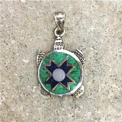 Lineage Designs Inlay Turtle Pendant