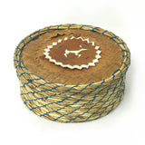 Birch and Sweetgrass Basket with Deer Decoration