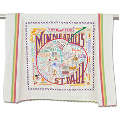 Minneapolis and St. Paul Geography Dish Towel