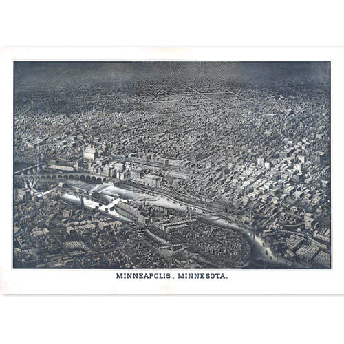 Minneapolis, Minnesota 1885 Bird's Eye View
