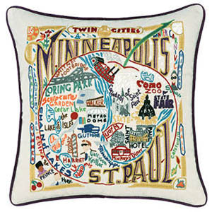 Minneapolis & St. Paul Embroidery Pillow