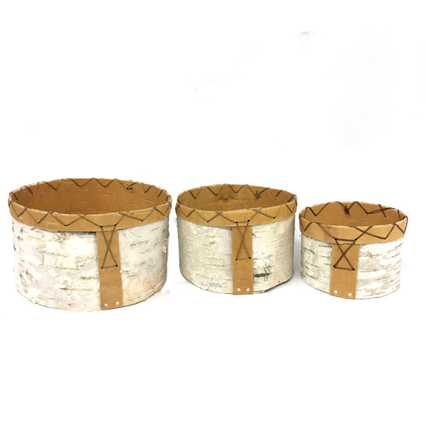 Birch Bark Round Nesting Baskets