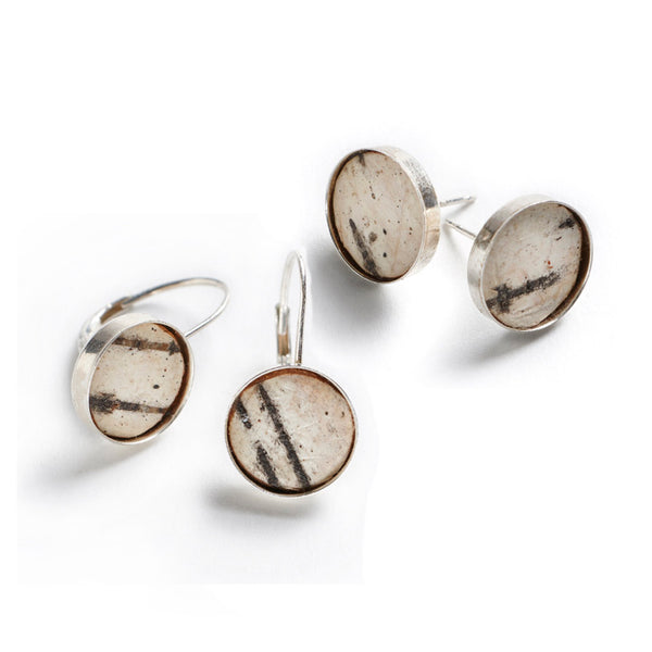 Tessoro Round Birch Earrings