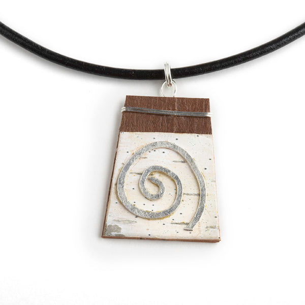 Tessoro Nordic Birch and Silver Spiral Pendant