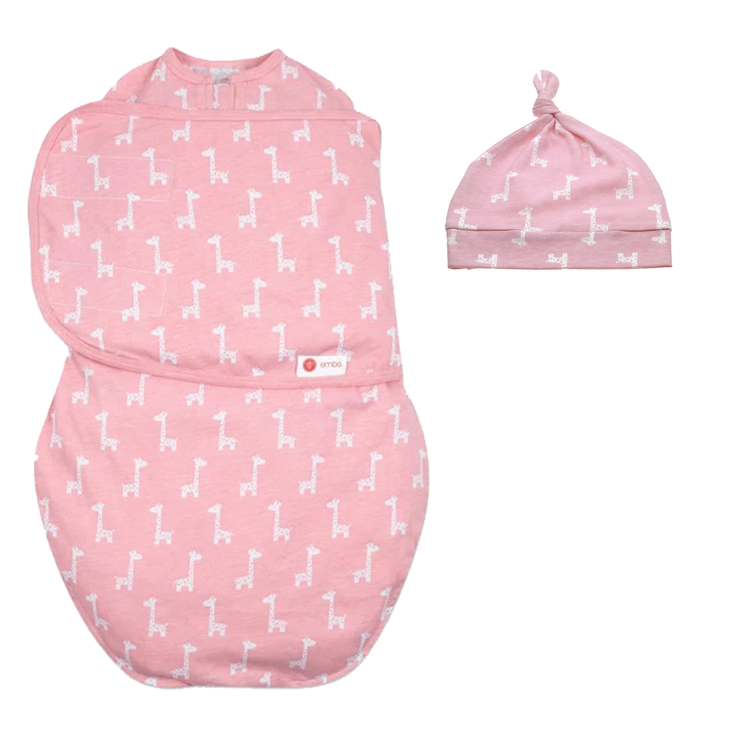 Hat and Starter Swaddle Original Bundle (Pink Giraffes)