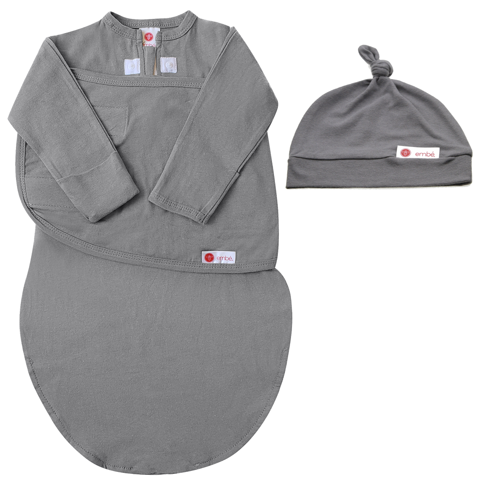 Hat and Starter Long Sleeves Swaddle Bundle (Slate)