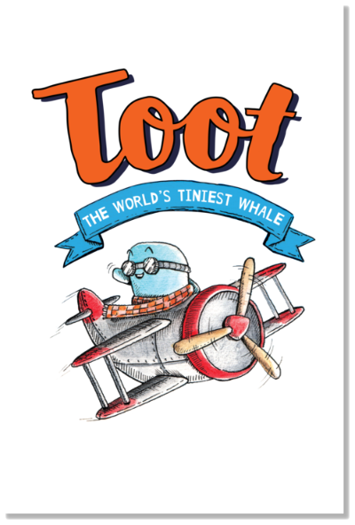 Poster - Toot in plane + book title artwork