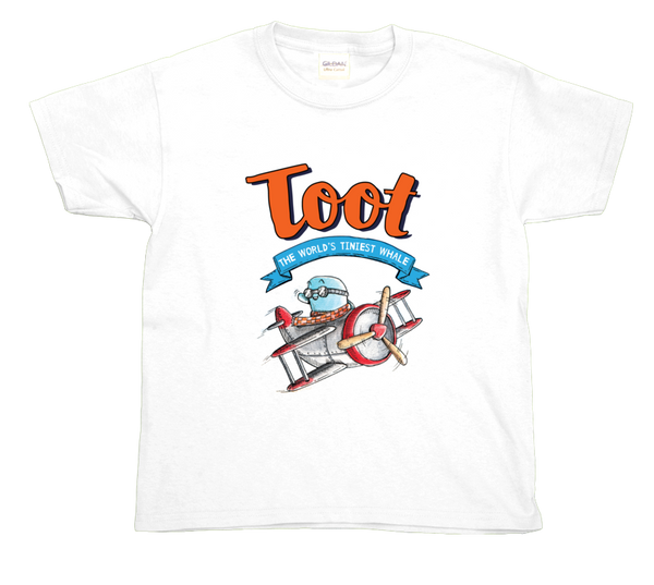 Children's t-shirt - Toot in plane + book title