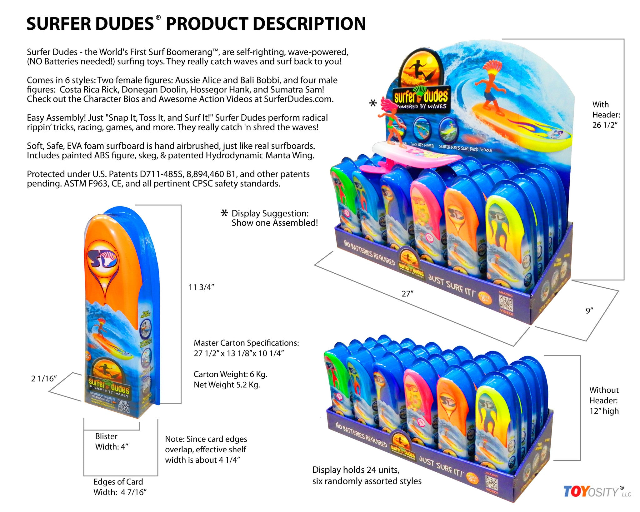 Surfer Dudes® display standard assortment