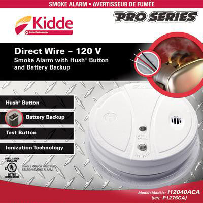 Smoke Alarm with Battery Backup – 120V AC Direct Wire