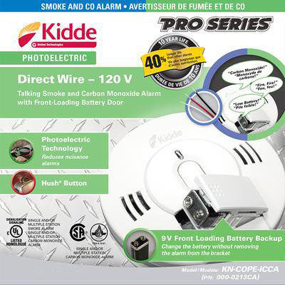 AC Hardwired 120V Talking Carbon Monoxide & Photoelectric Smoke Alarm