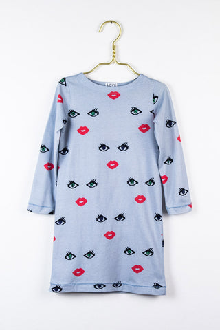 Anna Kleid in blaugrau mit dem Eyes & Lips print