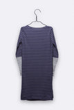 Carla dress in navy/flieder und weiss/navy gestreift