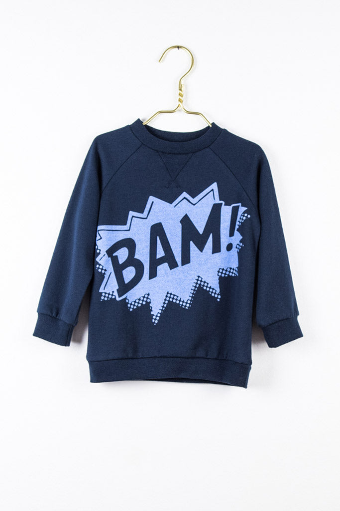 Louie sweater in navy mit dem BAM print