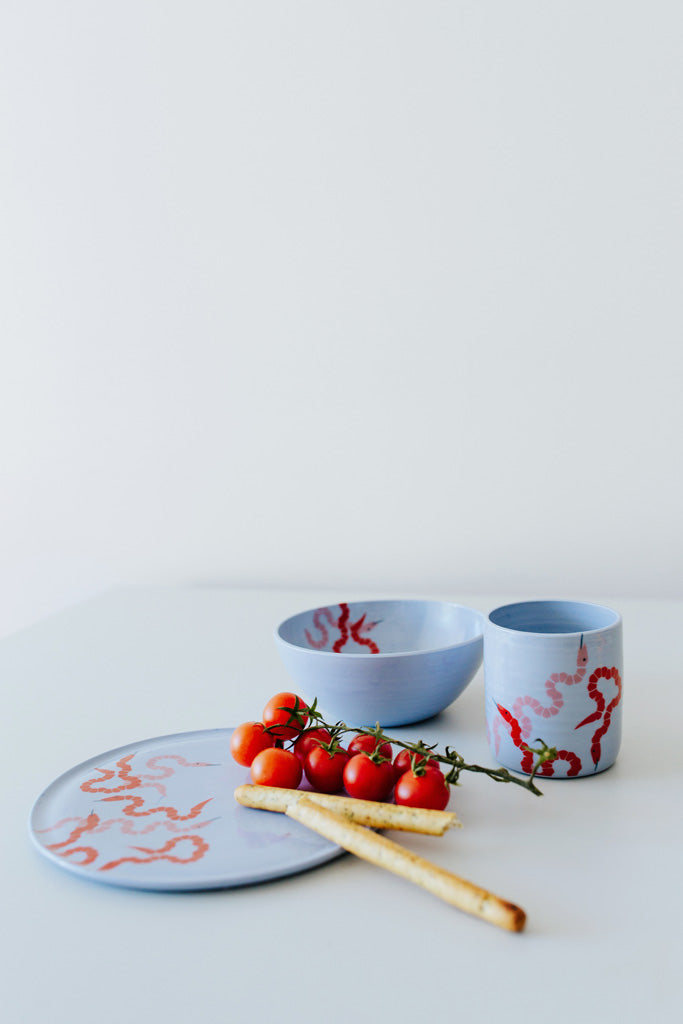 KIDS tableware Set rote Schlange auf blau