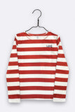 Timmy longsleeve in rot/weiss gestreiftem organic cotton jersey mit LOVE Stickerei