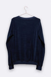 Tommy sweater in navy Samt mit dem Mandarinen patch für Damen